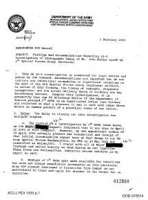 Army Investigation Finding Memo Example
