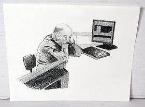 "10"" Original Pencil Drawing Old Man Tired Computer Work ..."