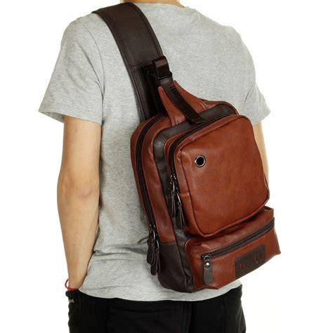 mens leather shoulder chest bag backpack crossbody bag sling bag riding  backpacks