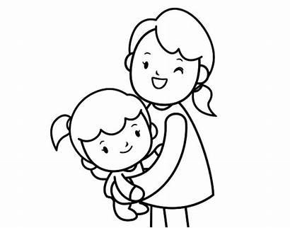 Hug Mom Colorear Para Coloring Dibujo Abrazo