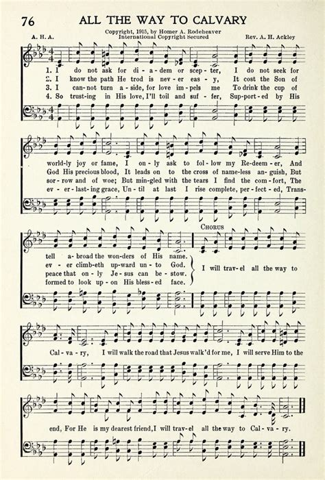 All The Way To by All The Way To Calvary Hymnary Org