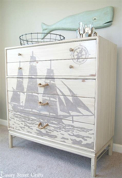 nautical whale dresser themed furniture makeover day