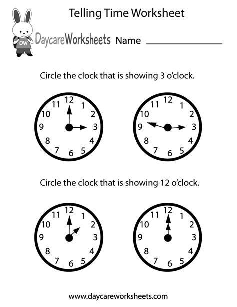 preschool telling time worksheet