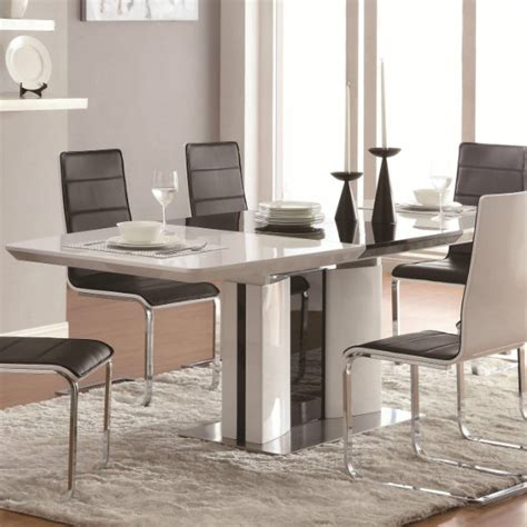 broderick contemporary  piece white dining table set