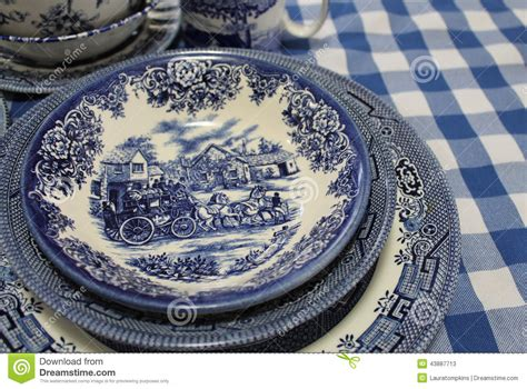 blue and white china l blue and white english china dishes stock photo image