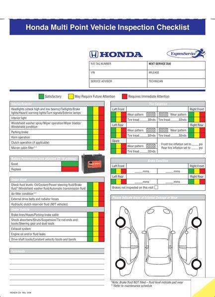 buy honda multi point vehicle inspection checklist estampe