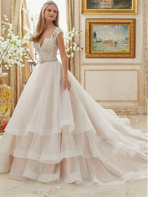 Mori Lee 2895 Floral Lace Bodice Ruffle Ball Gown Skirt