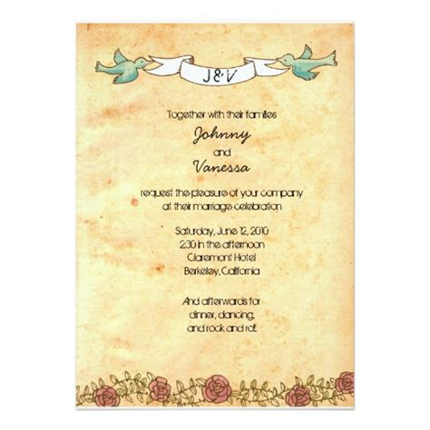 rock  roll wedding roses invitation card ladyprints