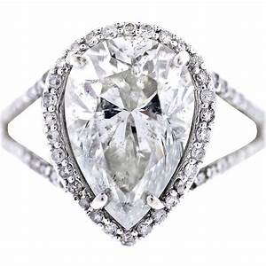 white gold pear shaped diamond halo style pave engagement ring With shaped diamond wedding rings