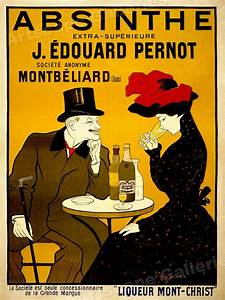 1905 Absinthe Table Vintage Alcohol Advertising Poster ...