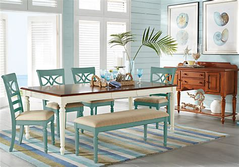 cindy crawford home ocean grove white  pc rectangle dining room teal