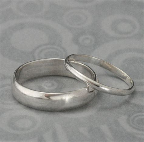 plain silver wedding rings the pair set of two plain sterling silver