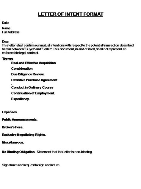 letter of intent template letter of intent template real estate forms