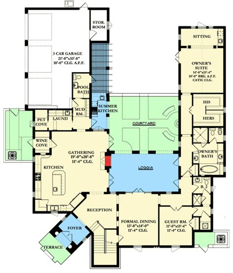 spanish colonial  central courtyard ka st floor master suite butler walk