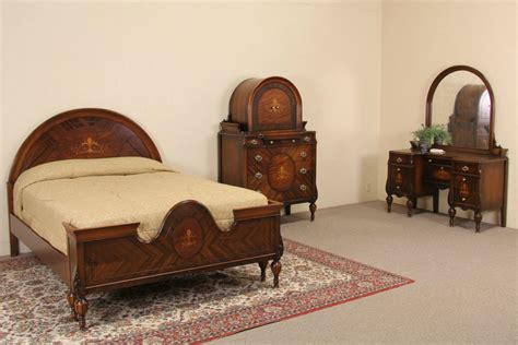 Sold  Marquetry 1920's Full Size Antique Bedroom Set, 3