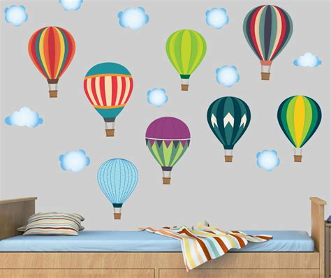 hot air balloons clouds pack   wall stickers mural
