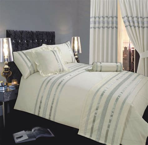 CREAM & SILVER COLOUR STYLISH SEQUIN DUVET COVER LUXURY