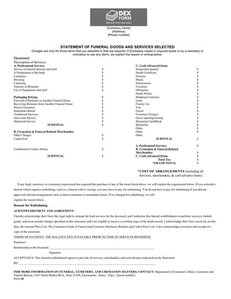 funeral billing statement template  word   formats