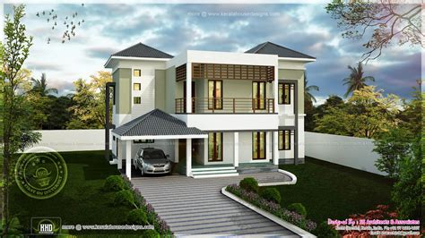 2 floor houses modern two storied house exterior kerala home design and
