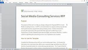 social media consulting rfp template youtube With social media rfp template