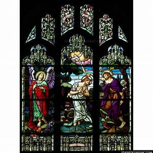 """""""Jesus being Baptized"""" Religious Stained Glass Window"""