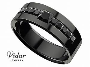 Men39s Princess Black Diamond Black Gold Wedding Ring