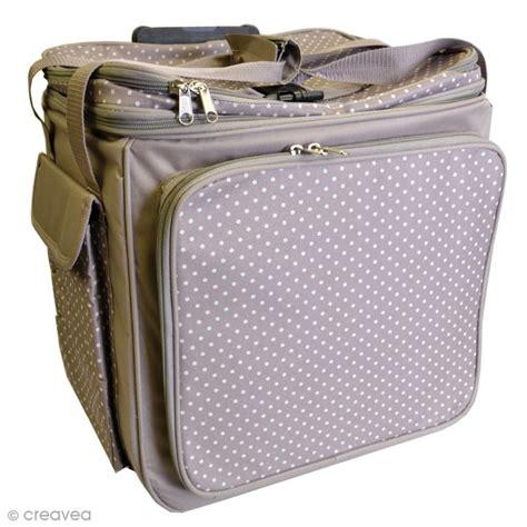 scrapbooking cuisine valise de rangement artemio taupe à pois 44 x 26 x 42 cm sac scrapbooking creavea