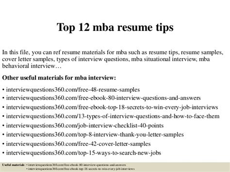 Mba Resume Tips by Top 12 Mba Resume Tips