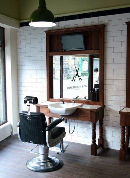 barbershop salon barber interior designs floor decoration hair beauty plan idee furniture friseursalon retro muebles esthetique brick theme barbearia simples