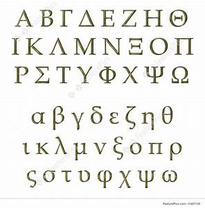 Letters and numbers 3d golden greek alphabet stock for Greek letters purchase