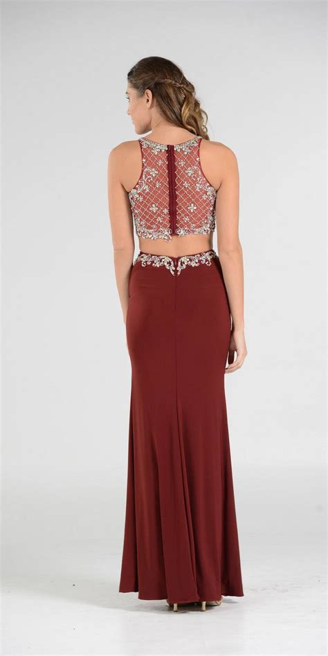 burgundy  piece prom gown romantic gowns  dresses