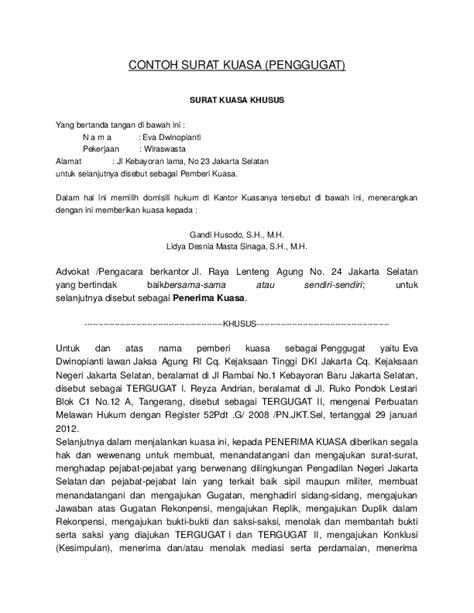 Contoh Surat Lamaran Kerja Di Kejaksaan Tinggi by Doc Contoh Surat Kuasa Penggugat Gee Dion Academia Edu