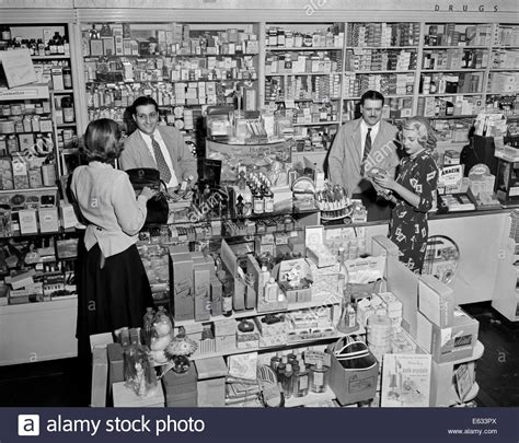 retro retail stores 1940s 1948 serving shopping in drugstore 1948