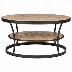 Table basse ronde en bois et en métal avec étagère/Tables basses et tables table basse