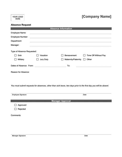 absence request form templates sol medicine office