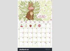Vector Monthly Calendar Cute Rabbit June Stock Vector