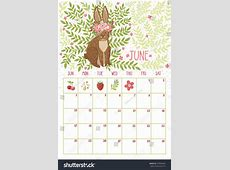 Vector Monthly Calendar Cute Rabbit June Stock Vector