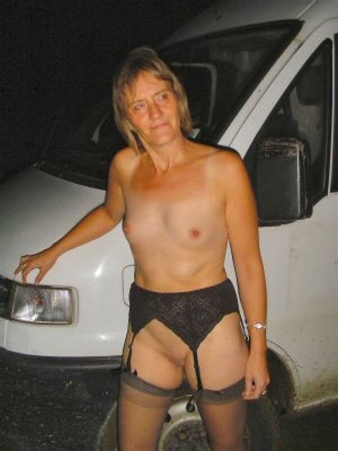 nude granny in stockings banged eagerly in the van picture 3