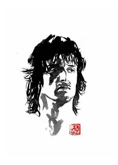 Rambo Drawing John Pechane Movie Sumie Painting