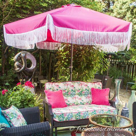 glam diy fringe patio umbrella  sewing required