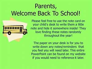 Parents, Welcome Back To School! - ppt video online download