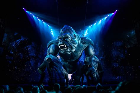 King kong is a film monster, resembling an enormous gorilla, that has appeared in various media since 1933. 'King Kong' Broadway Musical Review - Rolling Stone