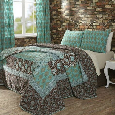 details about vhc marci turquoise brown cotton 3pc quilt