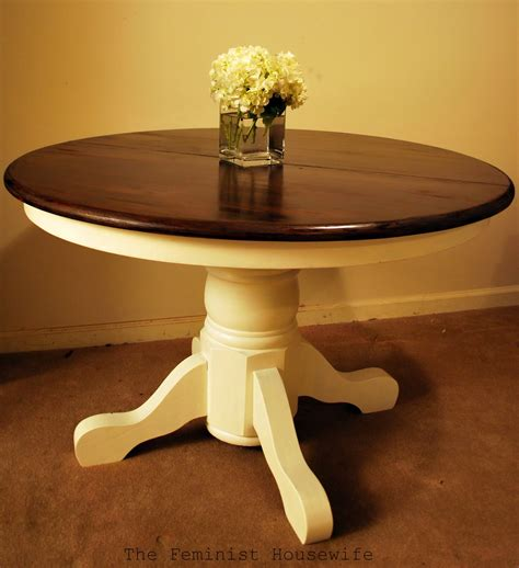 painted kitchen table ideas the feminist housewife pedestal table faq