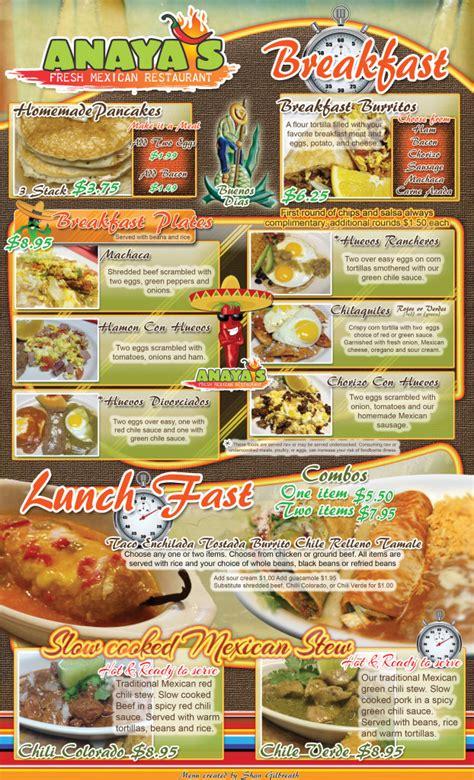 menu cuisine az menu anaya 39 s fresh restaurant food