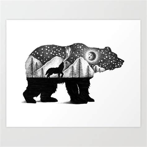 bear   wolf art print  thiagobianchini society