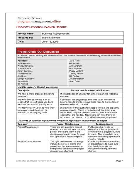 Project Lessons Learned Report Free Download