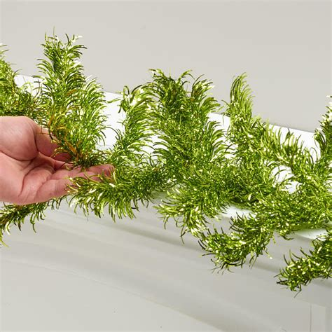 green tinsel garland christmas garlands christmas