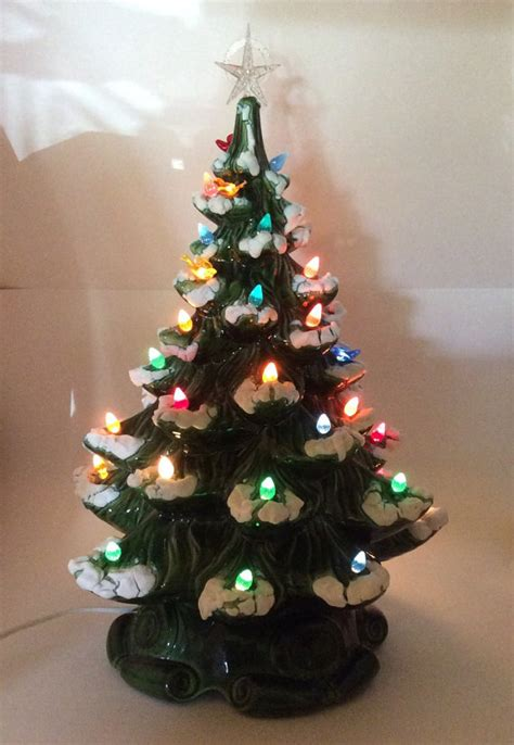 vintage ceramic flocked christmas tree atlantic mold company