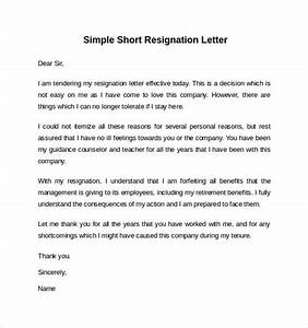 2 Weeks Notice Letters Free 6 Sample Resignation Letter Short Notice Templates